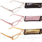 Reading Glasses Ladies Diamante Specs & Case +1 +1.5 +2 +2.5 +3 Cluster ET1094