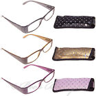 Ladies Sparkle Reading Glasses Specs Case +1 +1.5 +2 +2.5 +3 Starburst Starlight