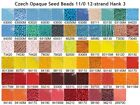 Czech 11/0 Opaque Seed Beads 12-strand Hank 5