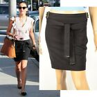 $795 CHIC GUCCI SKIRT WITH BAMBOO BELT & POCKETS SIGNATURE LOGO DETAIL BLACK