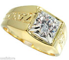 2ct Clear CZ Stone Two Tone 18kt Gold Plated Mens Ring