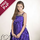 Girls Purple Diamante Ruffled Wedding Flowergirl Formal Prom Dress 2-14yrs