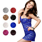 Sexy Tight Fitting Bling Sequins Spaghetti Strap Backless Clubwear Mini Dress