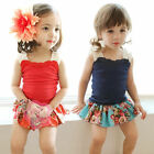 NWT Girls Kids Summer Tank Straps Top+Floral Pantskirt Outfits SZ 2 3 4 5 6 7