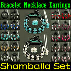 Set Shamballa Earrings Necklace Bracelet Matching Set Czech Crystal Clay Ball