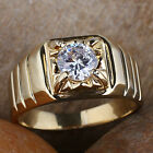 Men's Gold Finish Finger Ring Round Solitaire Stone Size Selectable Nice Carve