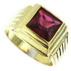Square Cut Ruby Red Stone 18kt Gold Plated Mens Ring New