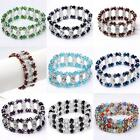 Fashion Jewelry Faceted Crystal Glass Rondelle Beads Bracelet Bangle Stretchy