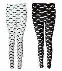 NEW BLACK CREAM MOUSTACHE PRINT FULL LENGTH LONG LEGGINGS SIZE 8-14