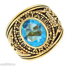 US Army Aqua Blue CZ Stone Military Gold Plated Ring
