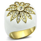 White Dome Golden Flower Gold EP Ladies Cocktail Ring
