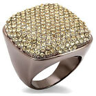 Ladies Citrine Pave Yellow St. Le Chocolate Gold Plated Ring Size 5-6 And 10