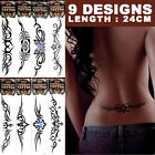 Black Unisex Celtic Tribal Gothic Temporary Tattoos Waterproof  Party- 24cm long