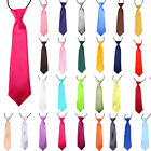Men Children/Boys/Kids Solid Plain Satin Elastic Neck Tie Necktie -Wedding/Party