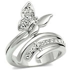 Butterfly Clear Crystal Stones Silver Rhodium EP Ladies Ring