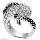 Fish Champagne Eyes CZ Stones Silver Rhodium EP Ladies Ring