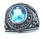 US Air Force Aqua Stone Military Silver Stainless Steel Ring