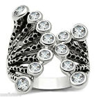 "Ladies 1"" Wide Twelve Clear CZ Rhodium Plated Cluster Ring"