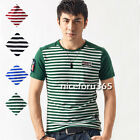 N4U8 Cool Fashion Men Casual Stripe Short Sleeve Round Neck T-shirt Top Tee new