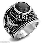Jet Back Sapphire US Air Force Military Silver Stainless Steel Mens Ring