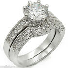 Round Shape 3.35Ct CZ Wedding Band Rhodium Plated Ring Set