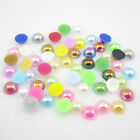100pcs Half Round Pearl Bead Flat Back Size 8mm Scrapbook for Craft colors AB