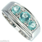 Mens Three Aqua Marine Stones Rhodium Plated Ring New