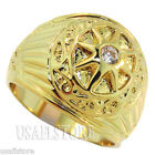 Mens 0.10ct Clear Round Stone Gold Plated Sun Ring
