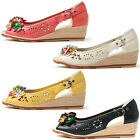 New Flower Design Women's Wedge Heel Open Toe Sandal Shoes Multi Colored