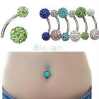 1X Navel Belly Button Bar Ring Barbell Rhinestone Crystal Ball Body Piercing