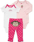 NWT Carters Baby GIRLS 3pc Set MONKEY Bottom PANTS+TOP/Bodysuit PINK DOTS Around