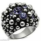 Ladies Amethyst Purple Crystal Bubble Silver Stainless Steel Cluster Ring