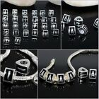 Wholesale Alphabet Letters Silver 3-Side European Beads Fit Charms Bracelet Hot