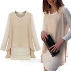 Pregnant Women Elegant Chiffon Loose Stretch Maternity Mini Dress Plus Size Tops
