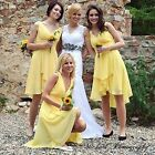 Chiffon Yellow Sexy Cocktail Bridesmaid Dresses 03644 UK Sz 6 8 10 12 14 16 18
