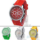 Mens Sport Casual Silicone Unique Quartz Movement Wrist Watch Big Dial Watches