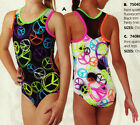 NWT Gymnastic leotard Black White Peace SIgns  NetStraps w Scrunchie Girls szs