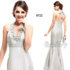 Sexy Long V Neck Halter Silver Evening Dress Bridal Wedding Formal Gown 09722