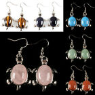 Crystal quartz agate goldstone tigereye gemstone Ear dangle turtle Earrings 30mm
