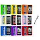 For iPod Touch 4th Gen 4G Silicone Cassette Tape Retro Case Cover+Metal Pen