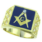 Mens Blue Top Masonic Mason 7st 18kt Gold Plated Ring New