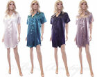 Ladies Satin Night Shirt Size 10 12 14 16 18 20 22 Gift Silky Sexy Nightwear NEW