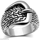 Ladies Belt Buckle Gear No Stone Rhodium Plated Ring
