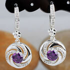 Round Stone Wind Shape Drop 925 Sterling Silver Earrings Lady Birthday Gift