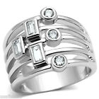 Ladies Five Row Six Stones Silver Rhodium Plated Cluster Ring
