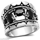 Ladies Five Black Stones Silver Rhodium Plated Cluster Ring