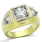 Three Clear Zircon Stones Two Tone Gold Ep Mens Ring