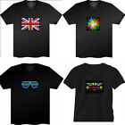 Cool Black Laser Flashing Music Up and Down Light Sound Activated LED EL T-Shirt