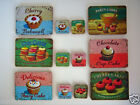 DOLLS HOUSE MINIATURE CUPCAKE 4 TABLE PLACEMATS 4 COASTERS Choose from 7 Designs