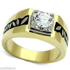 2.3ct Clear CZ Falling Leaves Gold EP Two Tone Stainless Steel Mens Ring